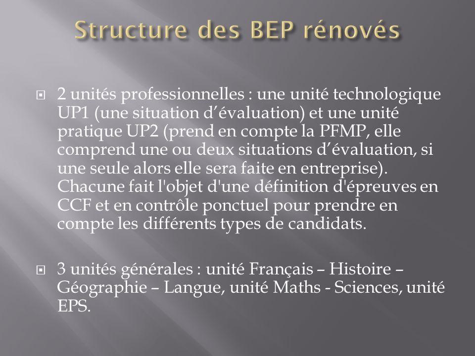 2 unités professionnelles : une unité technologique UP1 (une situation dévaluation) et une unité pratique UP2 (prend en compte la PFMP, elle comprend