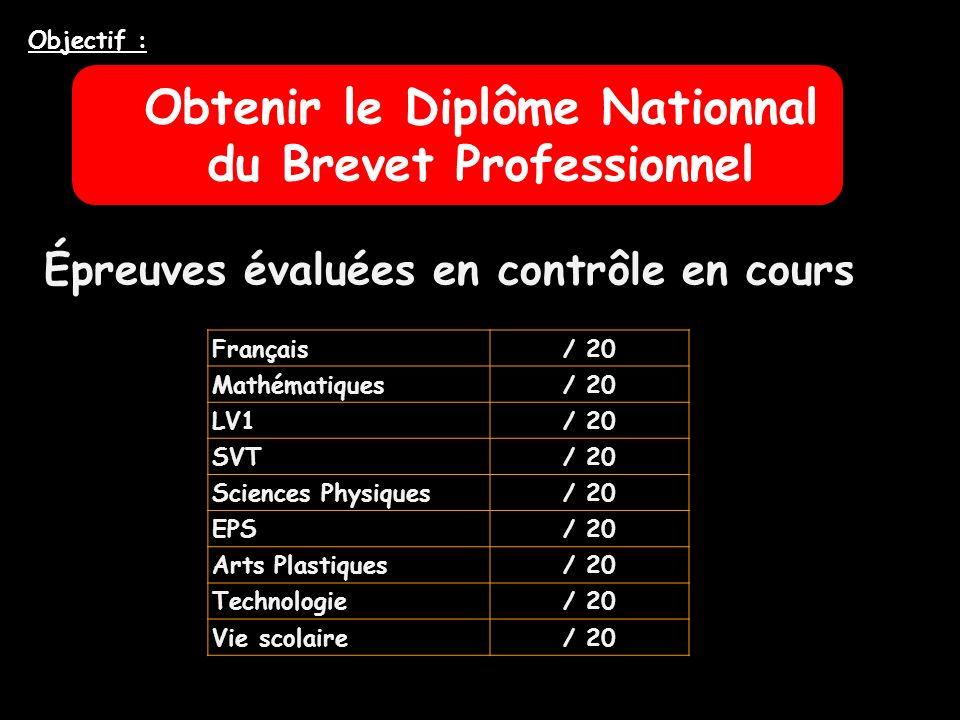 Obtenir le Diplôme Nationnal du Brevet Professionnel Objectif : Français/ 20 Mathématiques/ 20 LV1/ 20 SVT/ 20 Sciences Physiques/ 20 EPS/ 20 Arts Pla