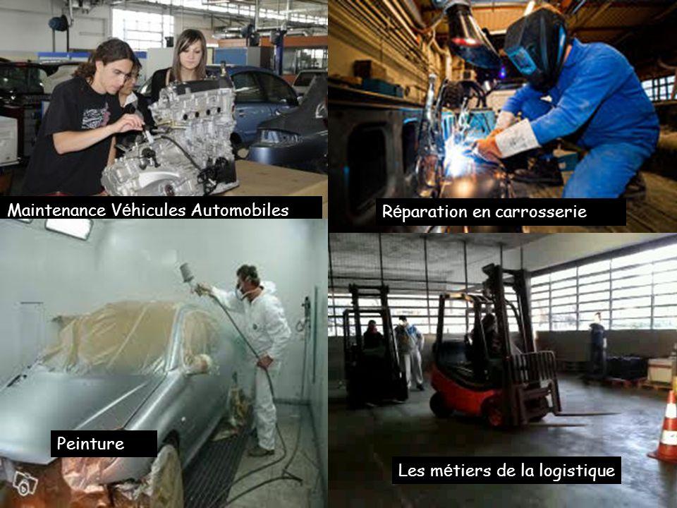 8 champs professionnels différents Maintenance V é hicules Automobiles R é paration en carrosserie Les m é tiers de la logistique Peinture