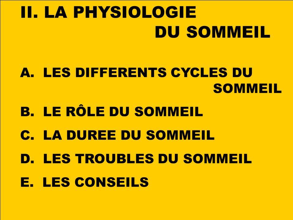 II.LA PHYSIOLOGIE DU SOMMEIL A. LES DIFFERENTS CYCLES DU SOMMEIL B.