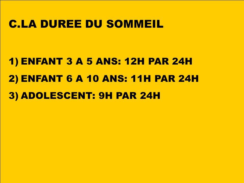C.LA DUREE DU SOMMEIL 1)ENFANT 3 A 5 ANS: 12H PAR 24H 2)ENFANT 6 A 10 ANS: 11H PAR 24H 3)ADOLESCENT: 9H PAR 24H