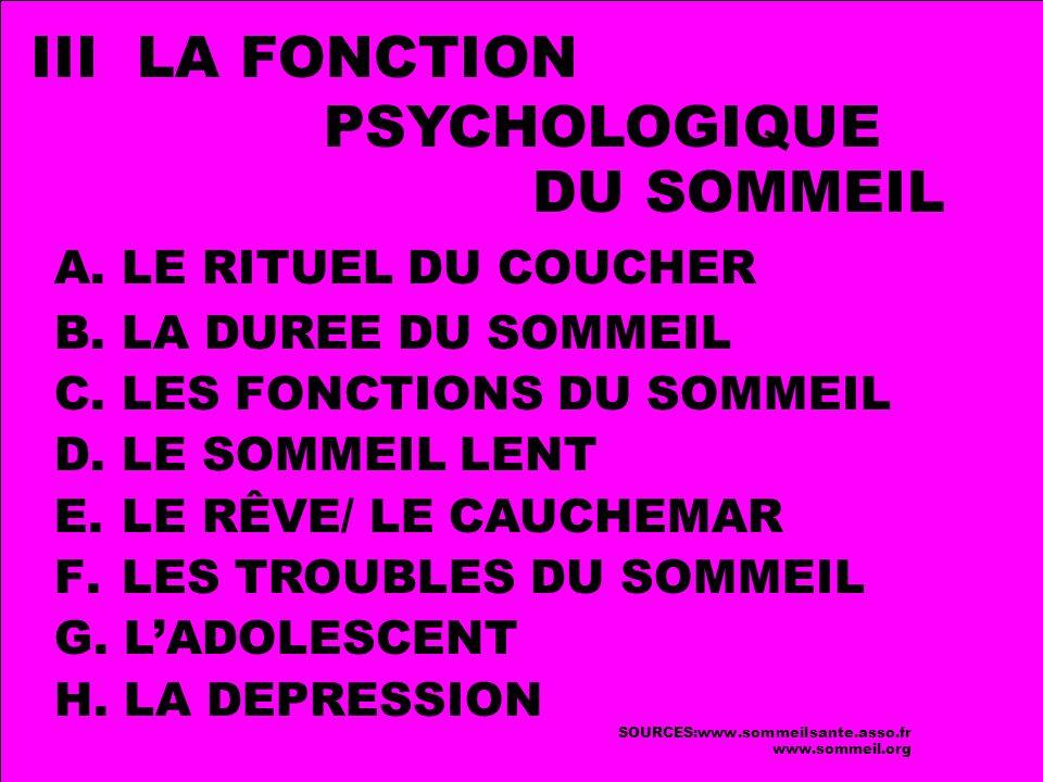 A.LE RITUEL DU COUCHER B. LA DUREE DU SOMMEIL C. LES FONCTIONS DU SOMMEIL D.