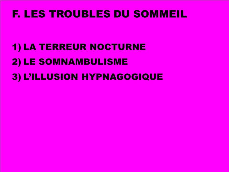 F. LES TROUBLES DU SOMMEIL 1)LA TERREUR NOCTURNE 2)LE SOMNAMBULISME 3)LILLUSION HYPNAGOGIQUE