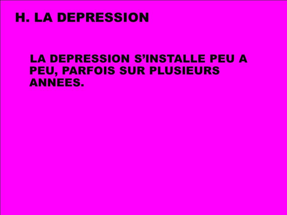 H. LA DEPRESSION LA DEPRESSION SINSTALLE PEU A PEU, PARFOIS SUR PLUSIEURS ANNEES.