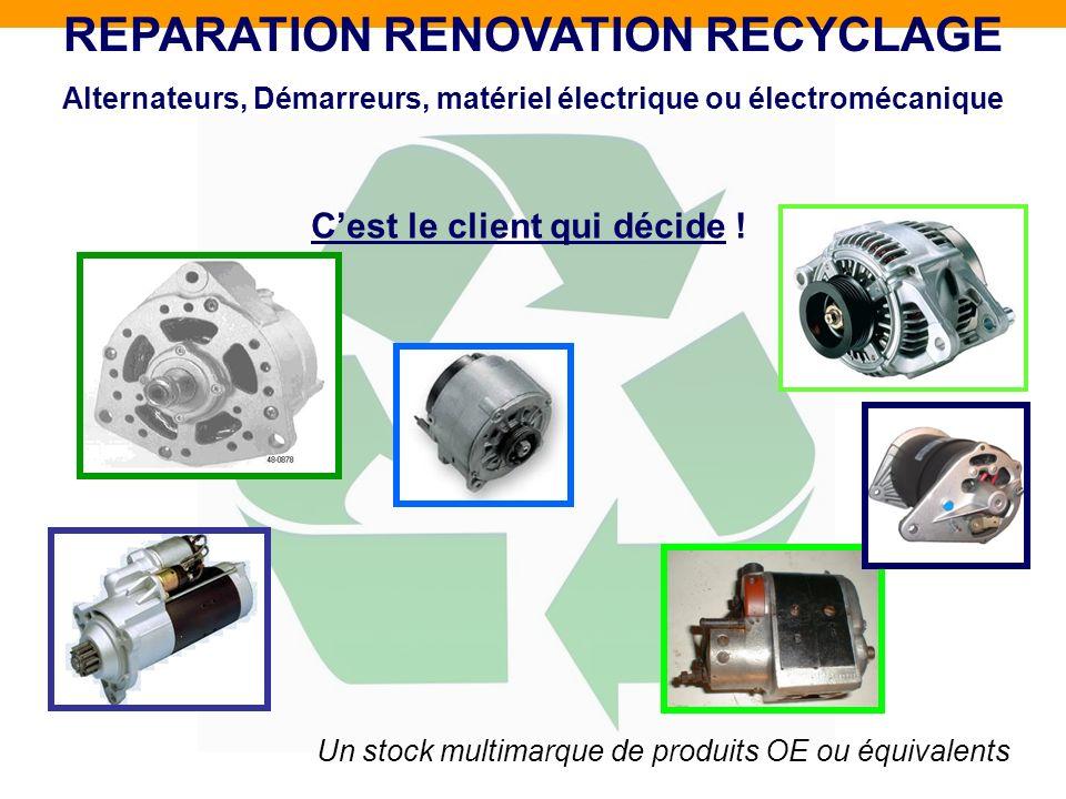 Un stock multimarque de produits OE ou équivalents REPARATION RENOVATION RECYCLAGE Alternateurs, Démarreurs, matériel électrique ou électromécanique C