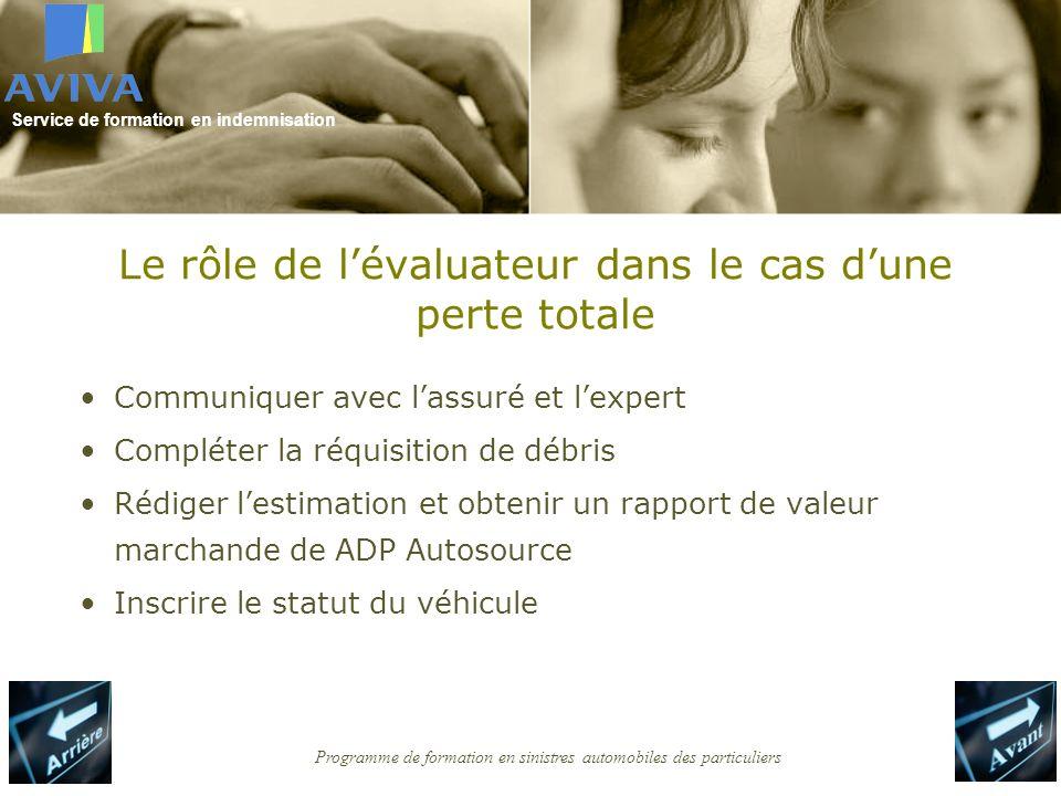Service de formation en indemnisation Programme de formation en sinistres automobiles des particuliers Le rôle de lévaluateur dans le cas dune perte t