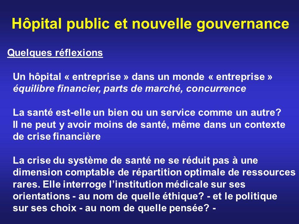Hôpital public et nouvelle gouvernance Quelques réflexions Un hôpital « entreprise » dans un monde « entreprise » équilibre financier, parts de marché