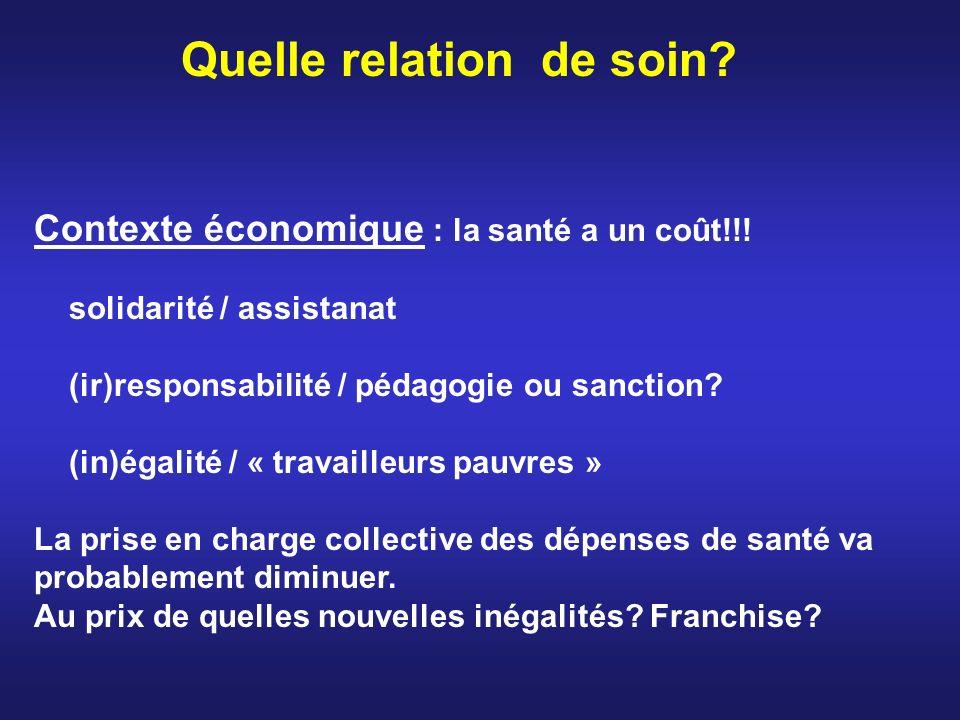 Quelle relation de soin? Contexte économique : la santé a un coût!!! solidarité / assistanat (ir)responsabilité / pédagogie ou sanction? (in)égalité /