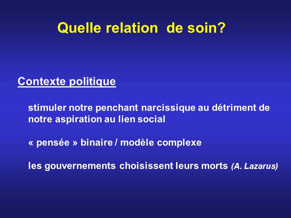 Quelle relation de soin? Contexte politique stimuler notre penchant narcissique au détriment de notre aspiration au lien social « pensée » binaire / m
