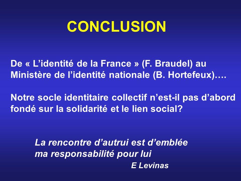 CONCLUSION De « Lidentité de la France » (F. Braudel) au Ministère de lidentité nationale (B. Hortefeux)…. Notre socle identitaire collectif nest-il p