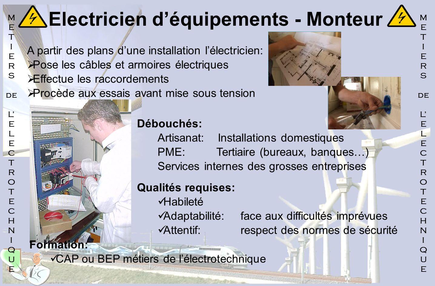Electricien déquipements - Monteur A partir des plans dune installation lélectricien: Pose les câbles et armoires électriques Effectue les raccordemen