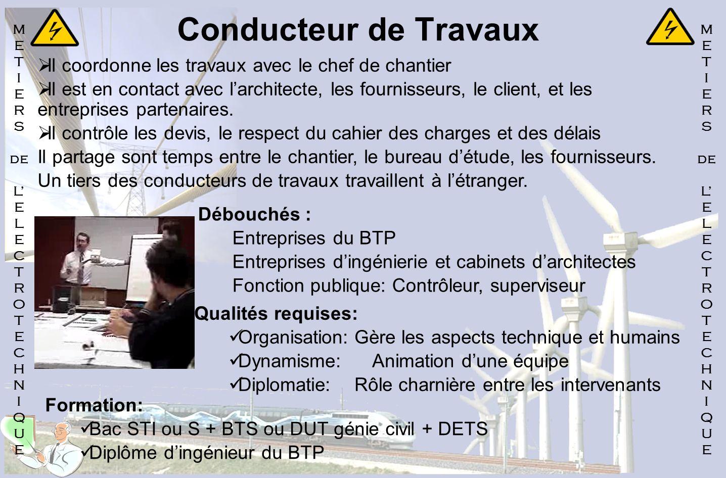 Conducteur de Travaux Il coordonne les travaux avec le chef de chantier Il est en contact avec larchitecte, les fournisseurs, le client, et les entrep