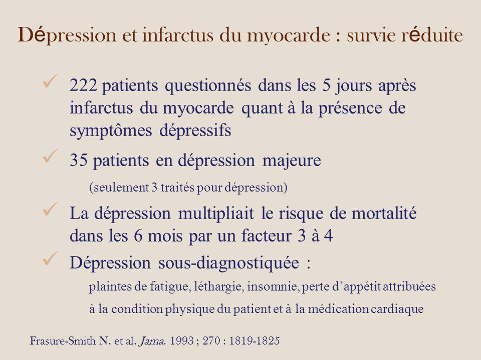 D é pression et infarctus du myocarde : survie r é duite Frasure-Smith N.