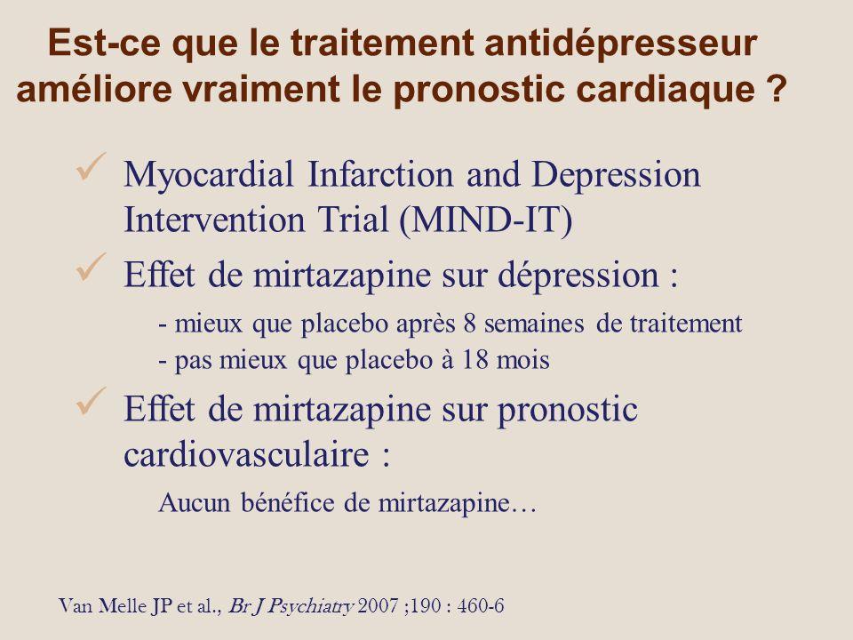 Est-ce que le traitement antidépresseur améliore vraiment le pronostic cardiaque .
