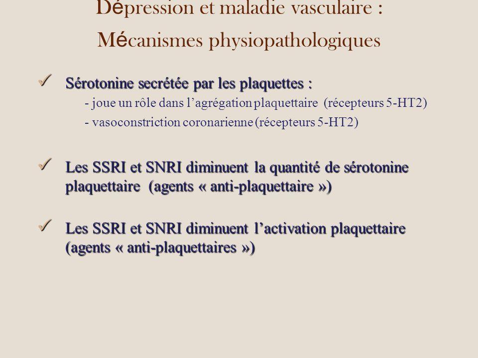 D é pression et maladie vasculaire : M é canismes physiopathologiques Sérotonine secrétée par les plaquettes : Sérotonine secrétée par les plaquettes : - joue un rôle dans lagrégation plaquettaire(récepteurs 5-HT2) - vasoconstriction coronarienne (récepteurs 5-HT2) Les SSRI et SNRI diminuent la quantité de sérotonine plaquettaire (agents « anti-plaquettaire ») Les SSRI et SNRI diminuent la quantité de sérotonine plaquettaire (agents « anti-plaquettaire ») Les SSRI et SNRI diminuent lactivation plaquettaire (agents « anti-plaquettaires ») Les SSRI et SNRI diminuent lactivation plaquettaire (agents « anti-plaquettaires »)