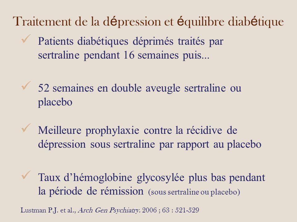 Traitement de la d é pression et é quilibre diab é tique Patients diabétiques déprimés traités par sertraline pendant 16 semaines puis...
