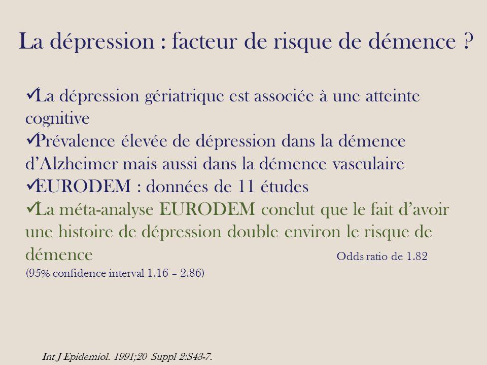 La dépression : facteur de risque de démence .