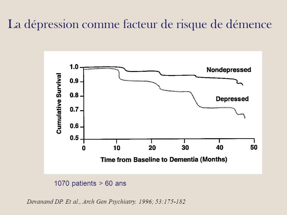 La dépression comme facteur de risque de démence Devanand DP.