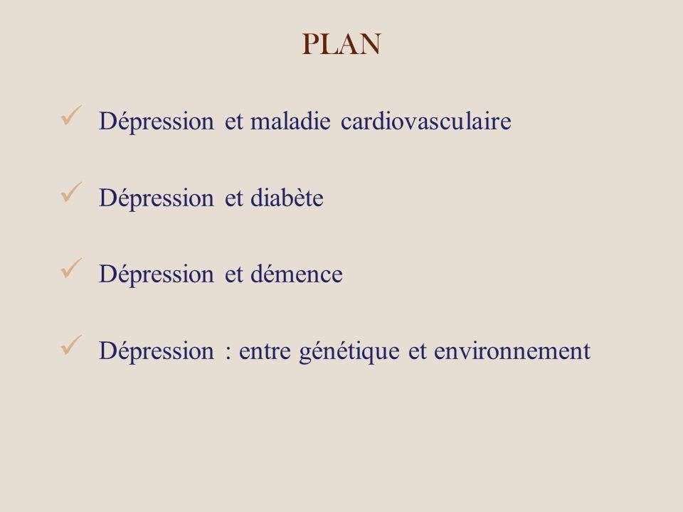 PLAN Dépression et maladie cardiovasculaire Dépression et diabète Dépression et démence Dépression : entre génétique et environnement