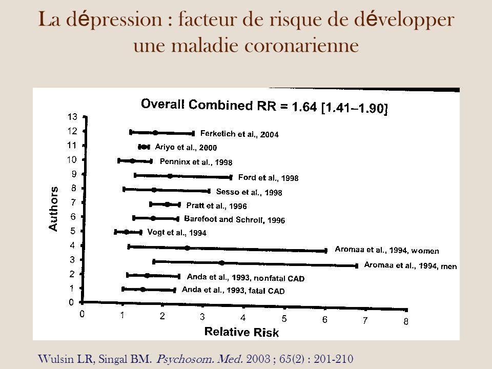 La d é pression : facteur de risque de d é velopper une maladie coronarienne Wulsin LR, Singal BM.