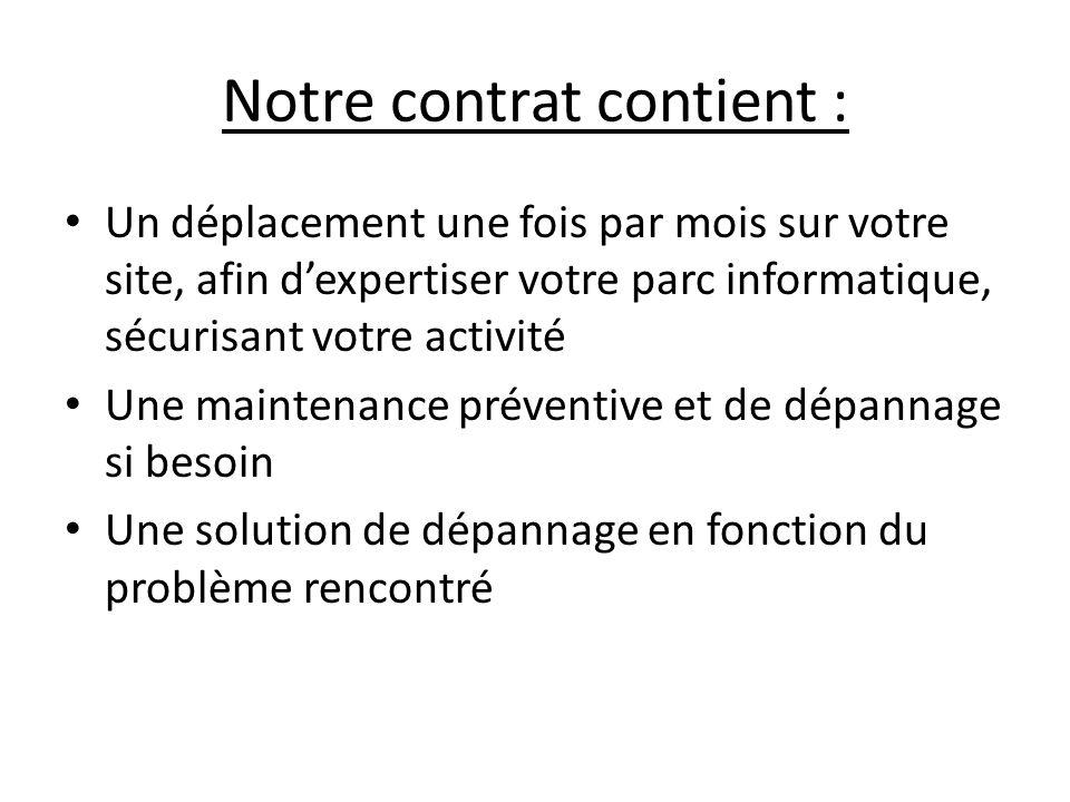 Notre contrat contient : Un déplacement une fois par mois sur votre site, afin dexpertiser votre parc informatique, sécurisant votre activité Une main