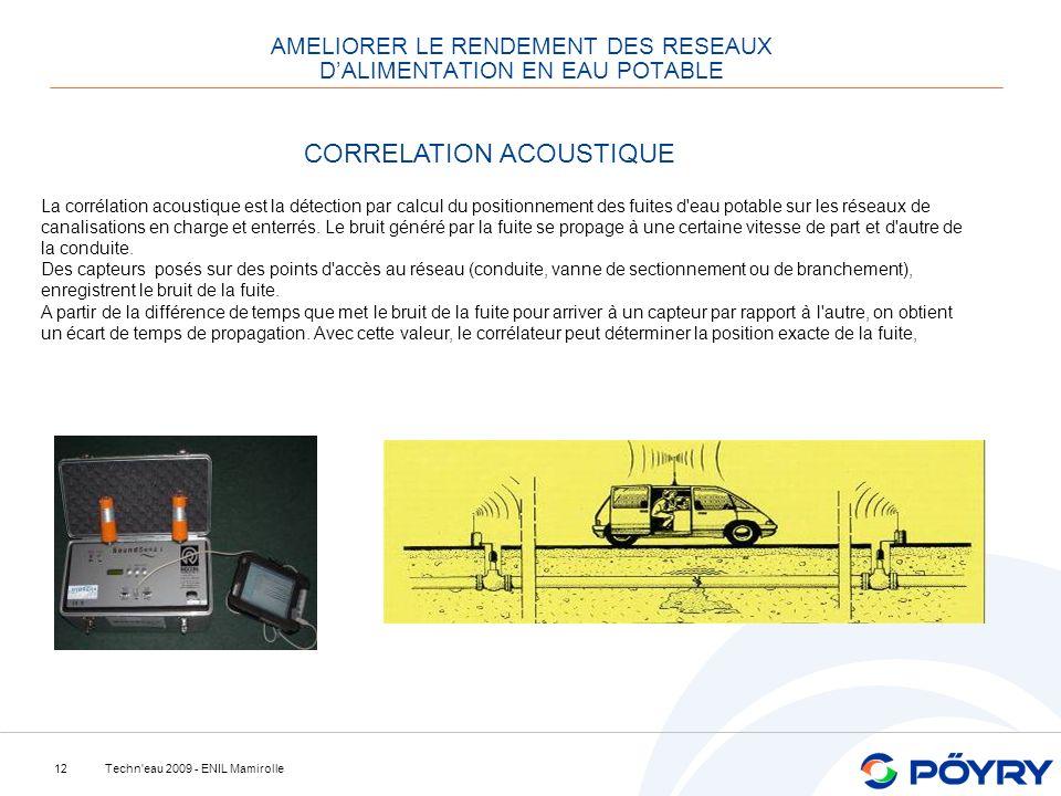 Techn'eau 2009 - ENIL Mamirolle12 AMELIORER LE RENDEMENT DES RESEAUX DALIMENTATION EN EAU POTABLE CORRELATION ACOUSTIQUE La corrélation acoustique est