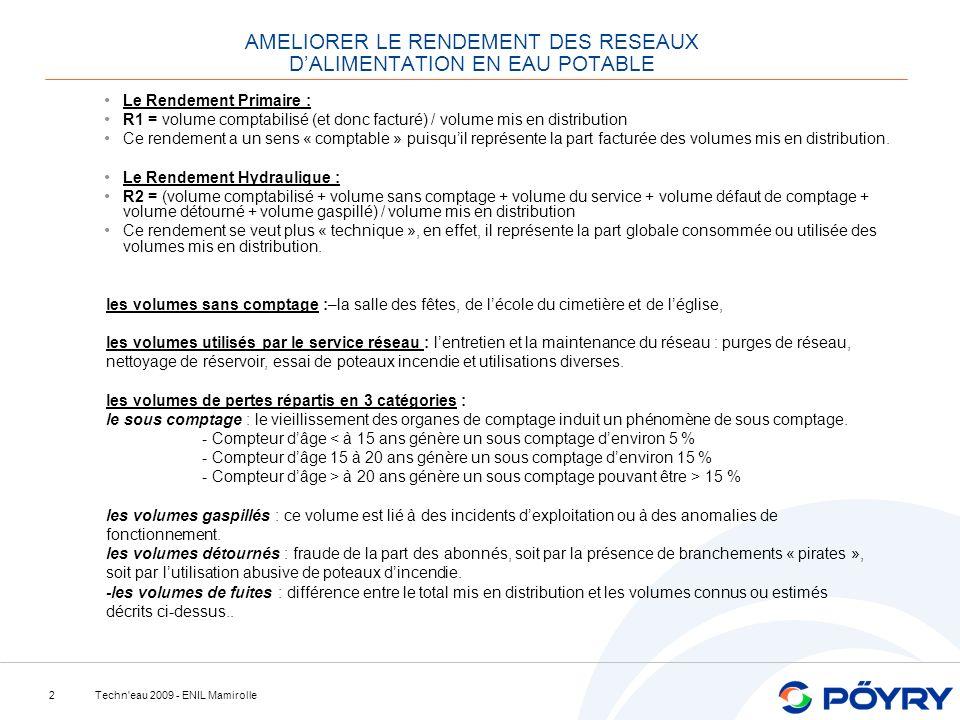 Techn'eau 2009 - ENIL Mamirolle2 AMELIORER LE RENDEMENT DES RESEAUX DALIMENTATION EN EAU POTABLE Le Rendement Primaire : R1 = volume comptabilisé (et
