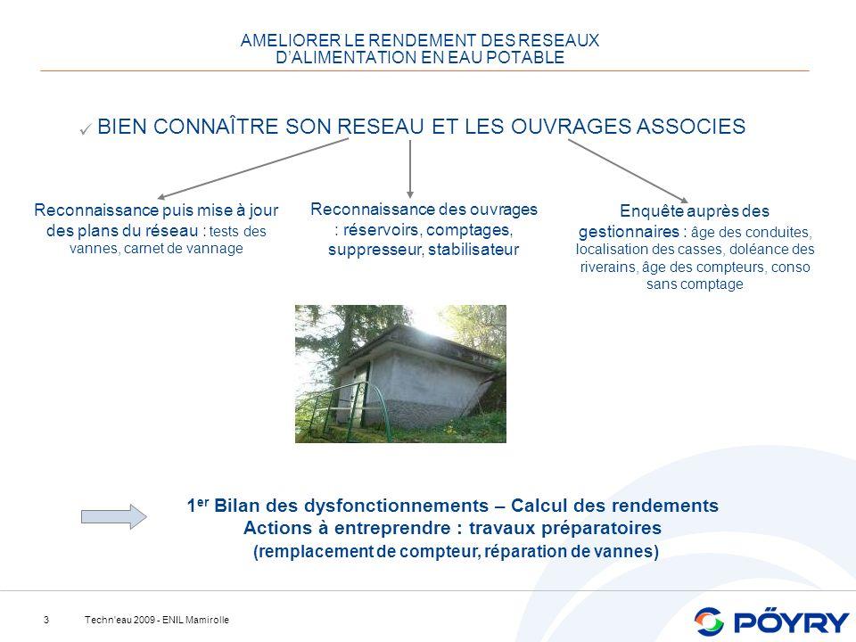 Techn'eau 2009 - ENIL Mamirolle3 BIEN CONNAÎTRE SON RESEAU ET LES OUVRAGES ASSOCIES Reconnaissance puis mise à jour des plans du réseau : tests des va