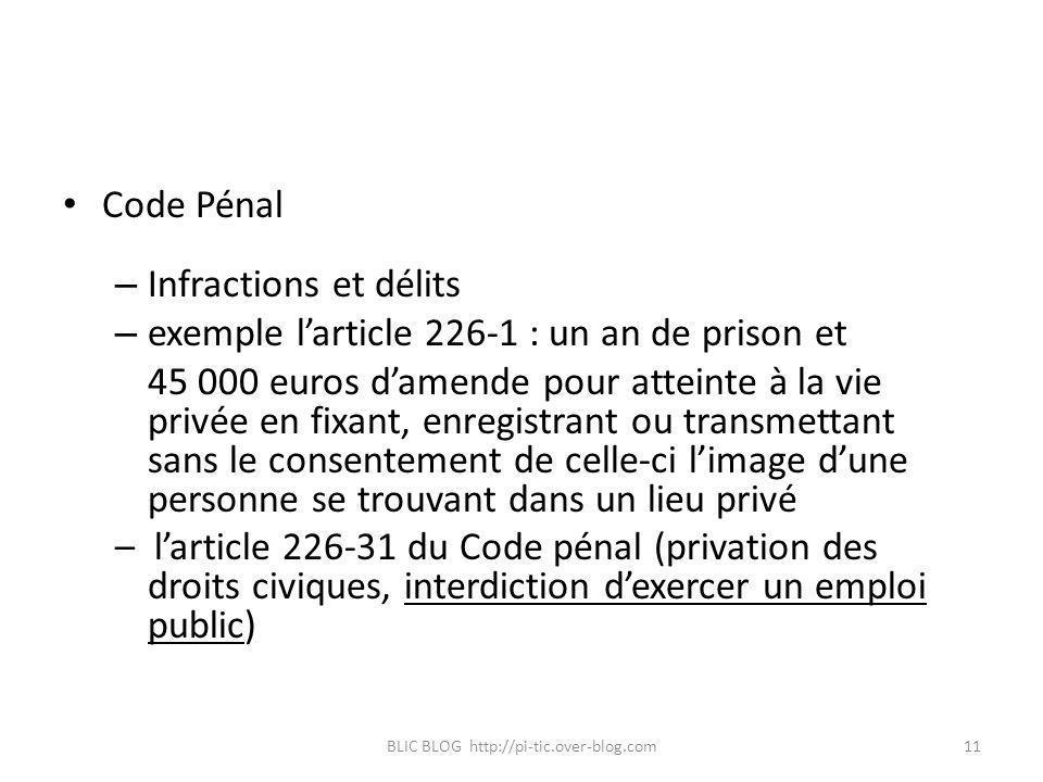 Code Pénal – Infractions et délits – exemple larticle 226-1 : un an de prison et 45 000 euros damende pour atteinte à la vie privée en fixant, enregis