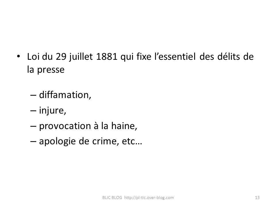 Loi du 29 juillet 1881 qui fixe lessentiel des délits de la presse – diffamation, – injure, – provocation à la haine, – apologie de crime, etc… BLIC B