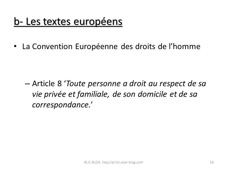 b- Les textes européens La Convention Européenne des droits de lhomme – Article 8 Toute personne a droit au respect de sa vie privée et familiale, de