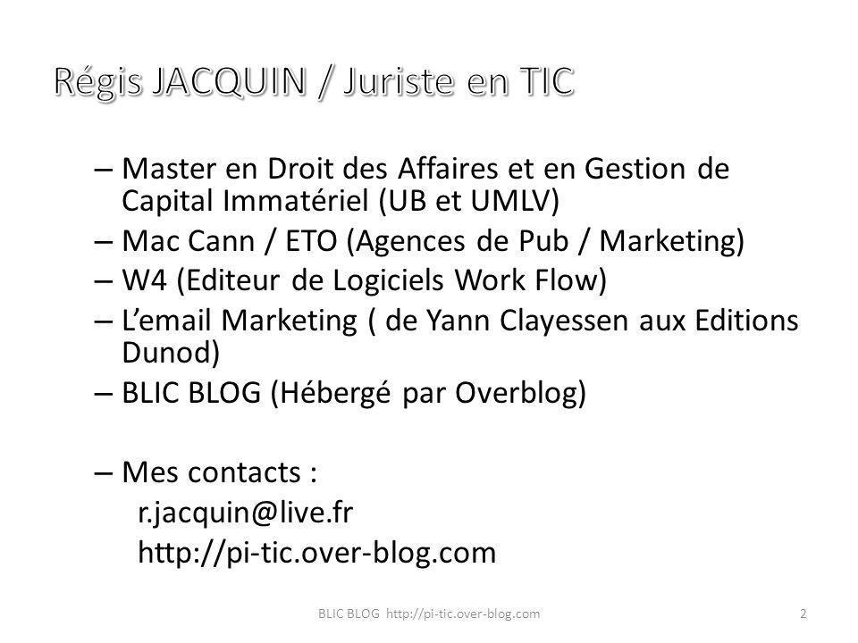 – Master en Droit des Affaires et en Gestion de Capital Immatériel (UB et UMLV) – Mac Cann / ETO (Agences de Pub / Marketing) – W4 (Editeur de Logicie