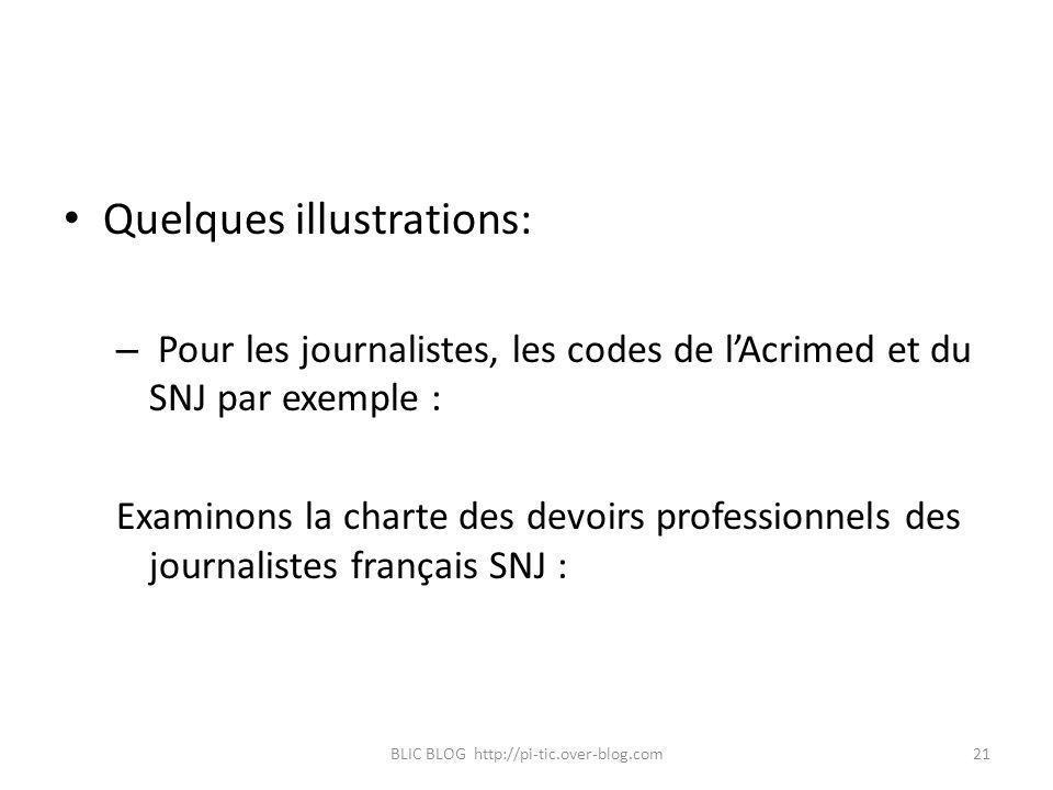 Quelques illustrations: – Pour les journalistes, les codes de lAcrimed et du SNJ par exemple : Examinons la charte des devoirs professionnels des jour