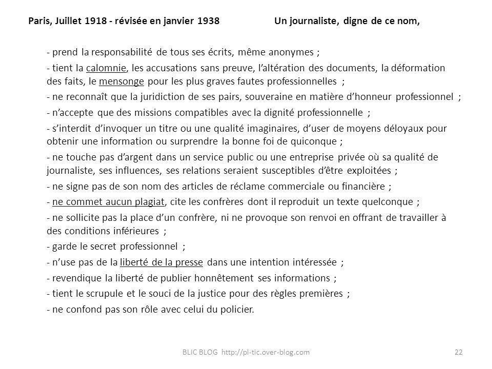 Paris, Juillet 1918 - révisée en janvier 1938Un journaliste, digne de ce nom, - prend la responsabilité de tous ses écrits, même anonymes ; - tient la