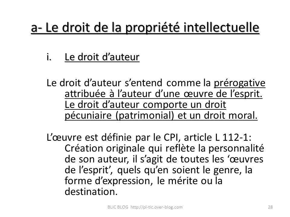 a- Le droit de la propriété intellectuelle i.Le droit dauteur Le droit dauteur sentend comme la prérogative attribuée à lauteur dune œuvre de lesprit.