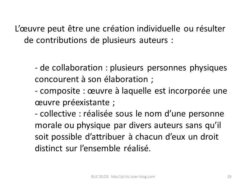 Lœuvre peut être une création individuelle ou résulter de contributions de plusieurs auteurs : - de collaboration : plusieurs personnes physiques conc