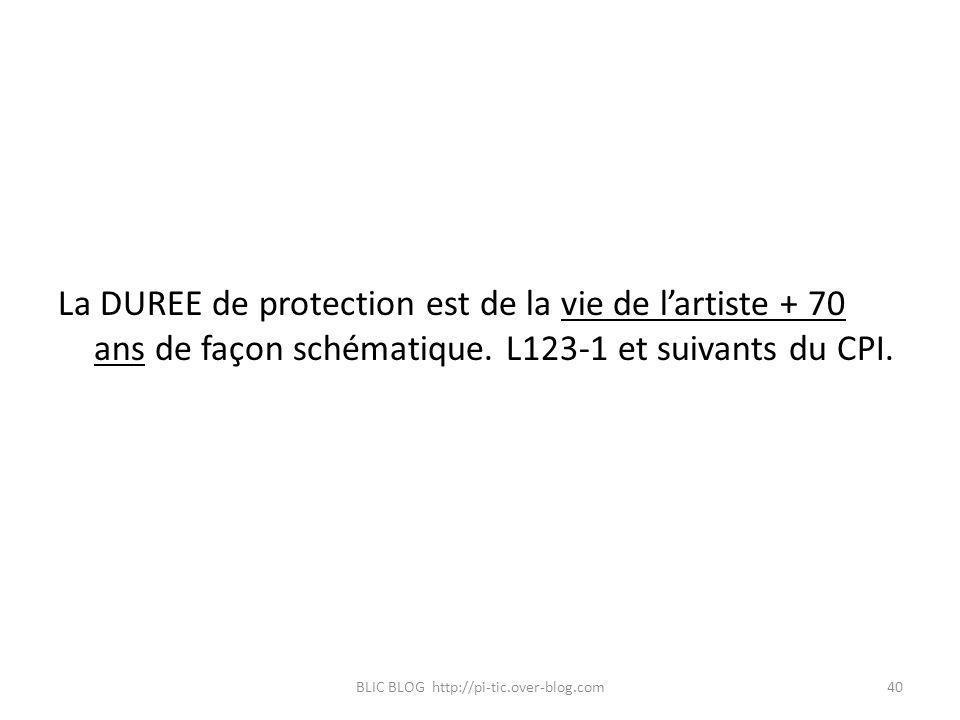 La DUREE de protection est de la vie de lartiste + 70 ans de façon schématique. L123-1 et suivants du CPI. BLIC BLOG http://pi-tic.over-blog.com40