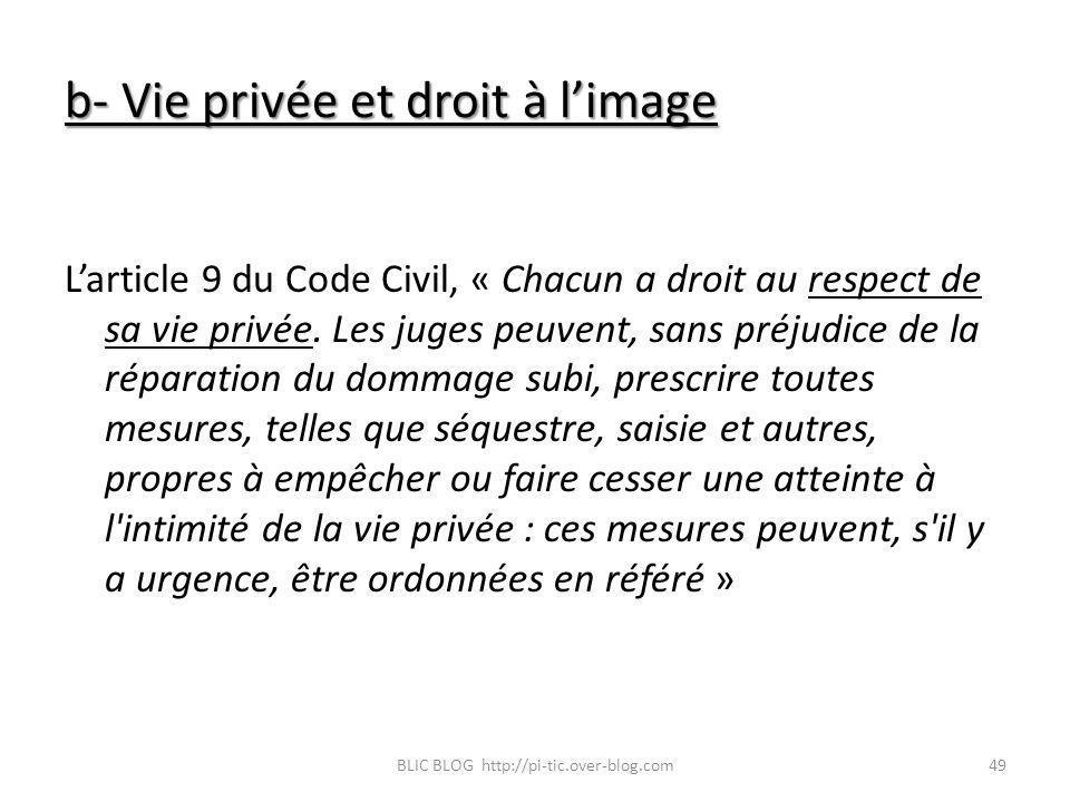 b- Vie privée et droit à limage Larticle 9 du Code Civil, « Chacun a droit au respect de sa vie privée. Les juges peuvent, sans préjudice de la répara