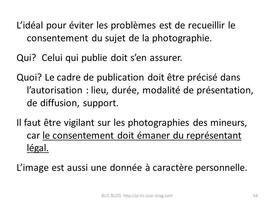 Lidéal pour éviter les problèmes est de recueillir le consentement du sujet de la photographie. Qui? Celui qui publie doit sen assurer. Quoi? Le cadre