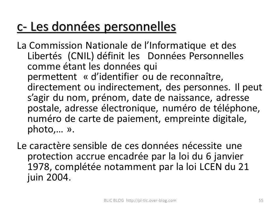 c- Les données personnelles La Commission Nationale de lInformatique et des Libertés (CNIL) définit les Données Personnelles comme étant les données q