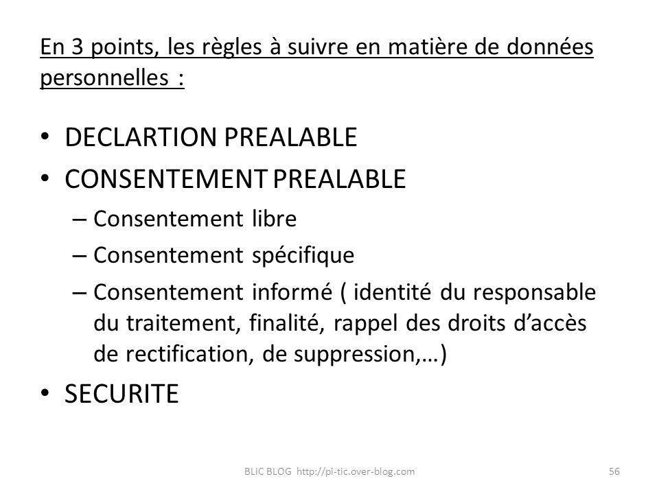 En 3 points, les règles à suivre en matière de données personnelles : DECLARTION PREALABLE CONSENTEMENT PREALABLE – Consentement libre – Consentement