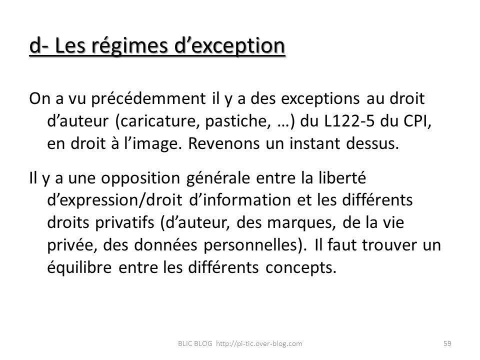 d- Les régimes dexception On a vu précédemment il y a des exceptions au droit dauteur (caricature, pastiche, …) du L122-5 du CPI, en droit à limage. R
