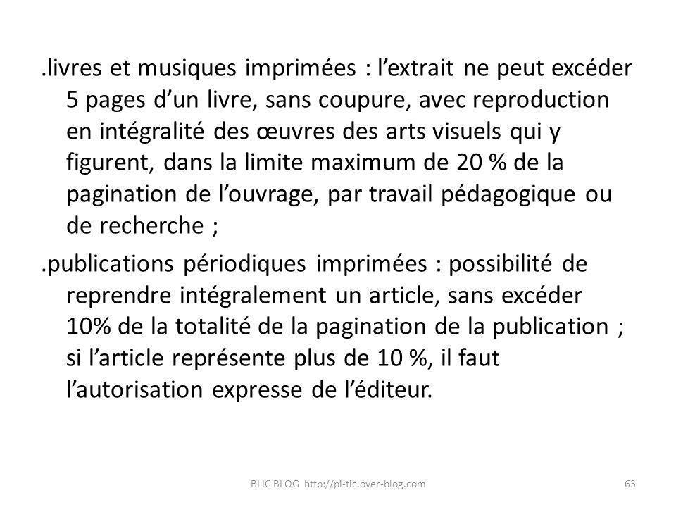 .livres et musiques imprimées : lextrait ne peut excéder 5 pages dun livre, sans coupure, avec reproduction en intégralité des œuvres des arts visuels