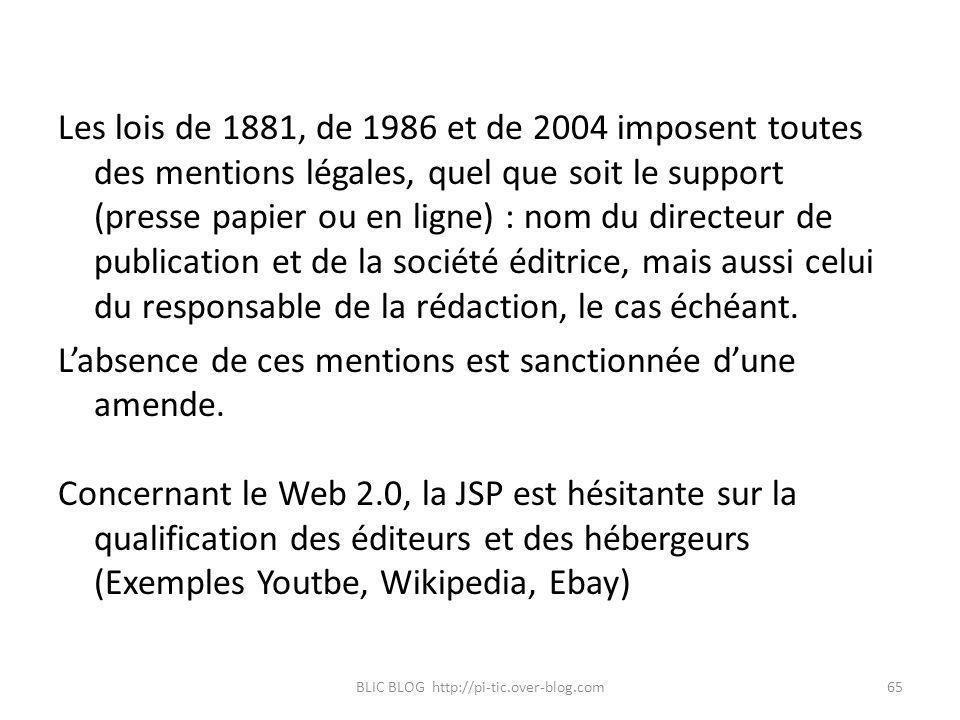 Les lois de 1881, de 1986 et de 2004 imposent toutes des mentions légales, quel que soit le support (presse papier ou en ligne) : nom du directeur de