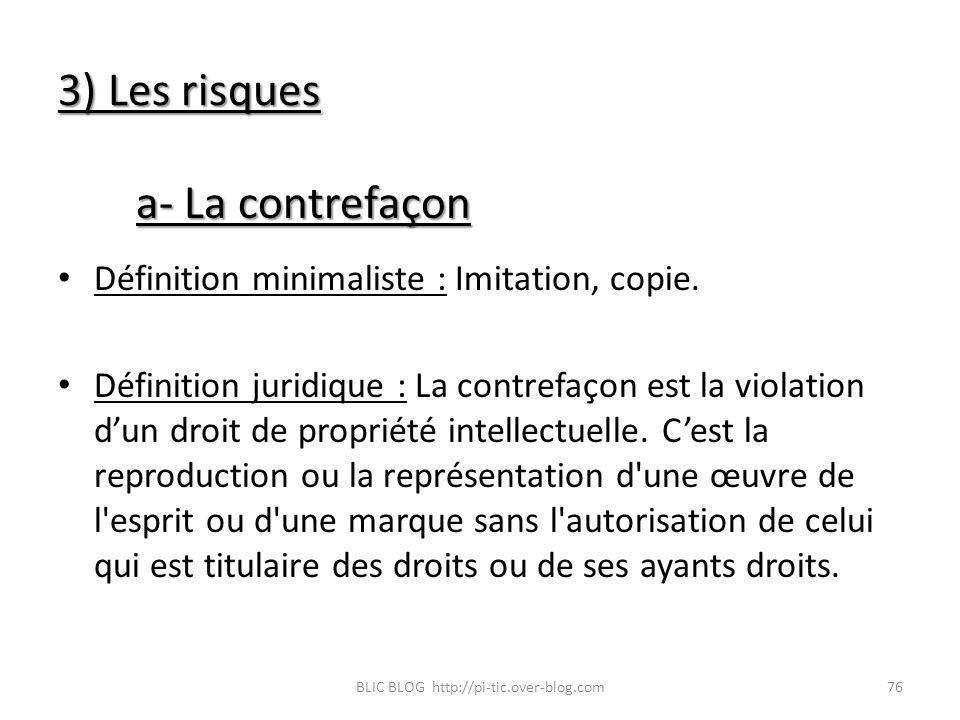 3) Les risques a- La contrefaçon Définition minimaliste : Imitation, copie. Définition juridique : La contrefaçon est la violation dun droit de propri