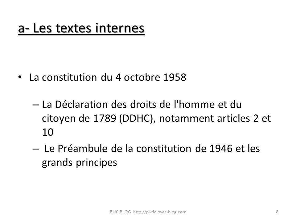 a- Les textes internes La constitution du 4 octobre 1958 – La Déclaration des droits de l'homme et du citoyen de 1789 (DDHC), notamment articles 2 et