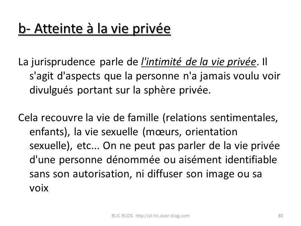 b- Atteinte à la vie privée La jurisprudence parle de l'intimité de la vie privée. Il s'agit d'aspects que la personne n'a jamais voulu voir divulgués