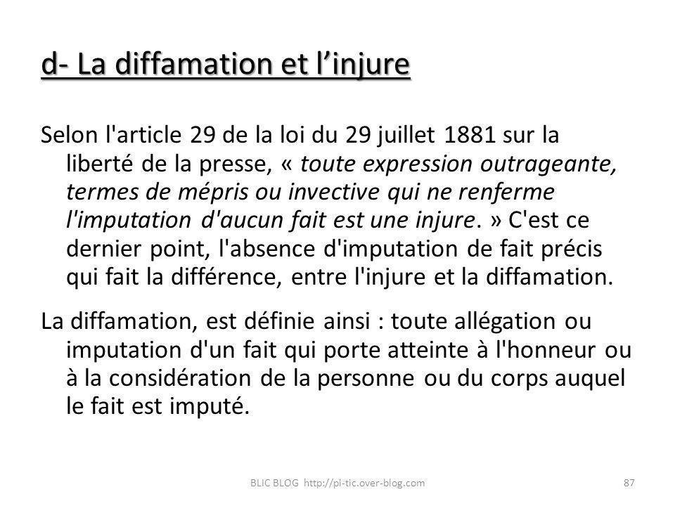 d- La diffamation et linjure Selon l'article 29 de la loi du 29 juillet 1881 sur la liberté de la presse, « toute expression outrageante, termes de mé
