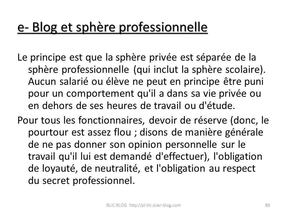 e- Blog et sphère professionnelle Le principe est que la sphère privée est séparée de la sphère professionnelle (qui inclut la sphère scolaire). Aucun