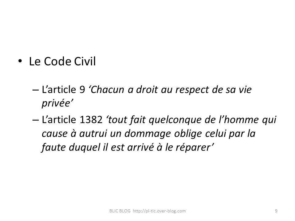 Le Code Civil – Larticle 9 Chacun a droit au respect de sa vie privée – Larticle 1382 tout fait quelconque de lhomme qui cause à autrui un dommage obl